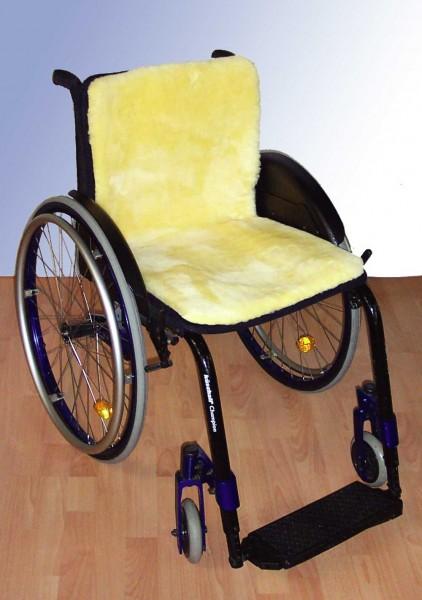 Rollstuhl Sitz und Rücken Auflage durchgehend aus Echtfell von Orgaterm